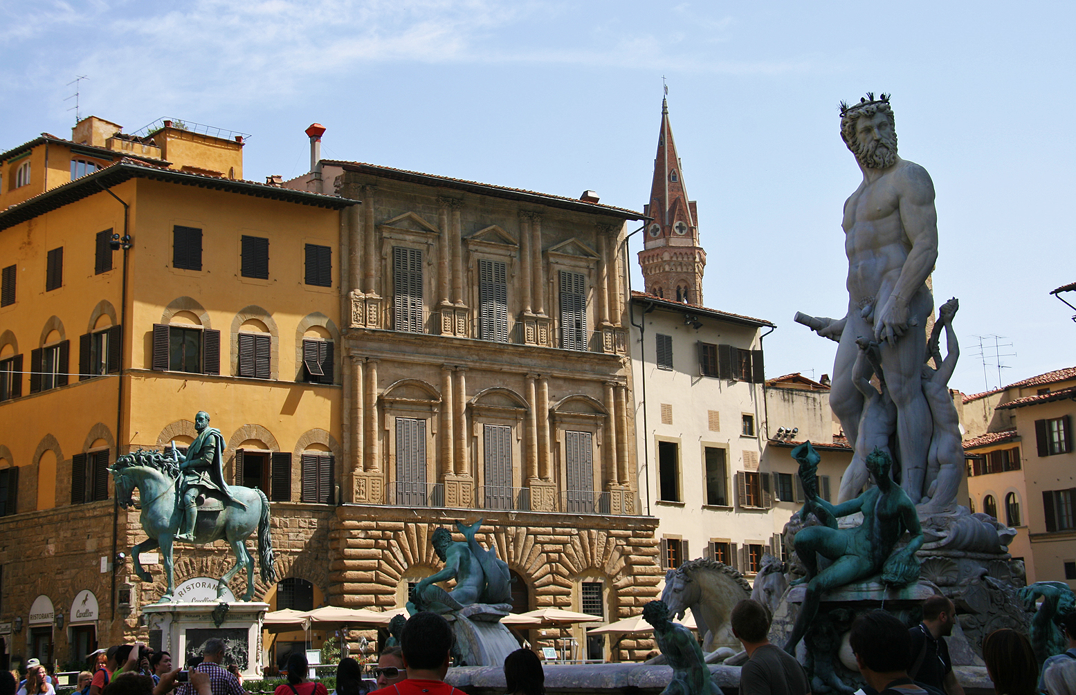 Piazza della Signoria, with the Fountain of Neptune in the front.