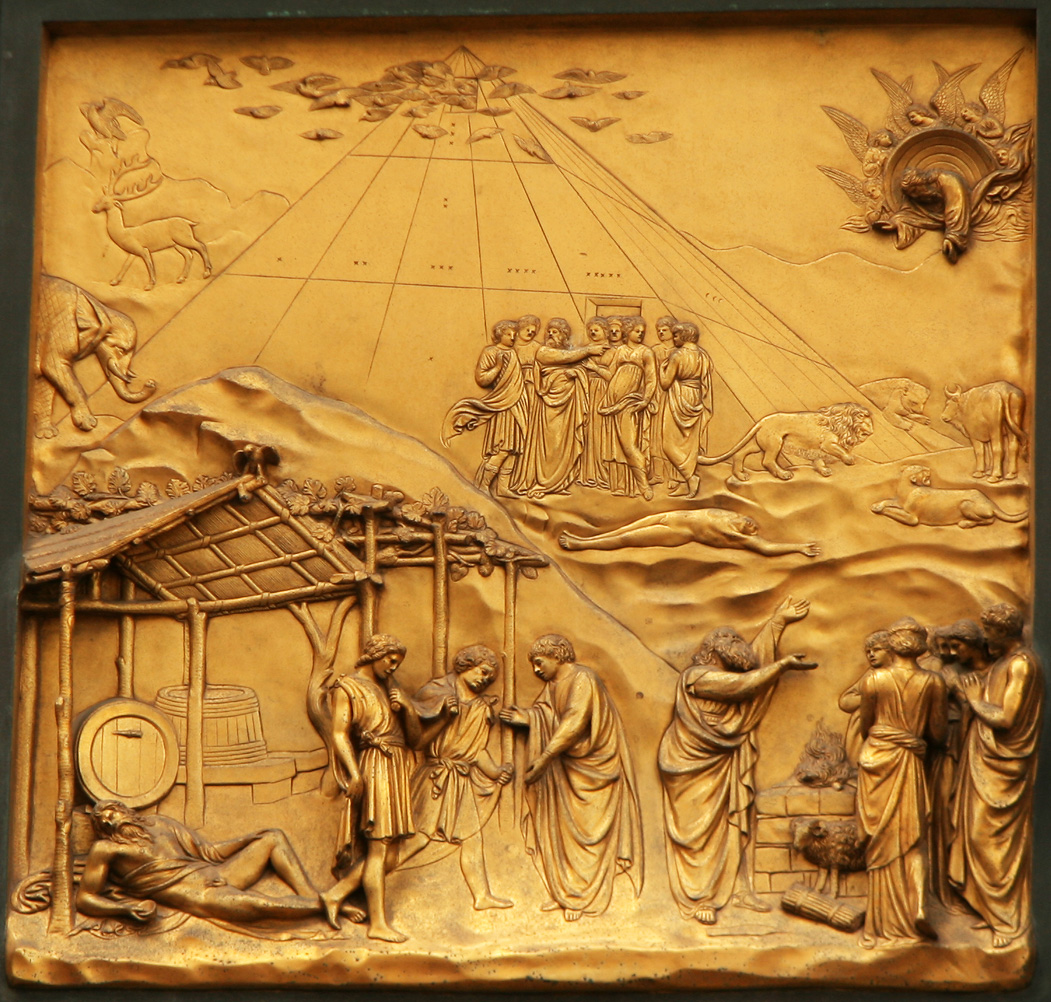 Noah (detail of the Gates of Paradise by Ghiberti).