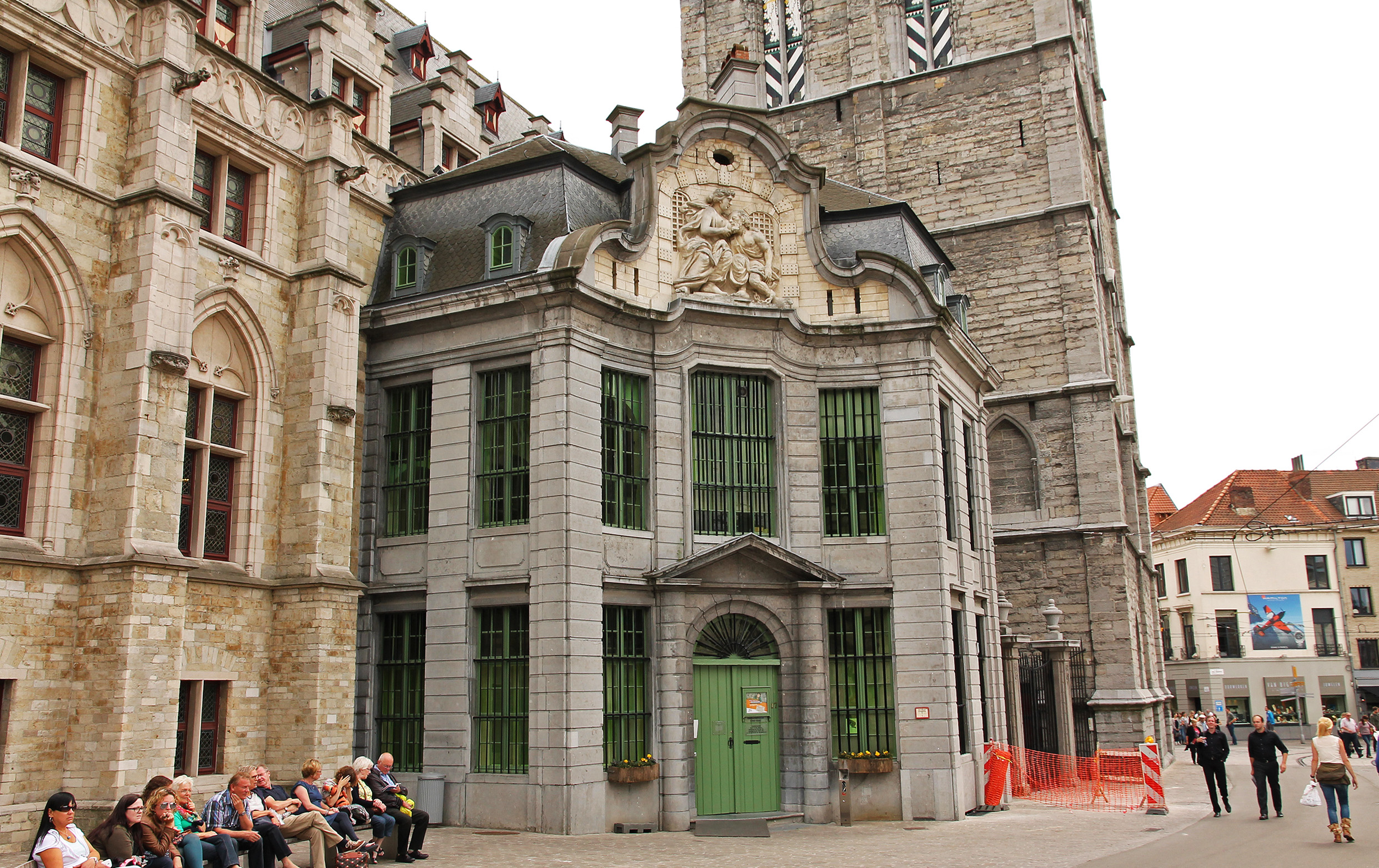 The Mammelokker: entrance to the 18th-century city jail and part of the world heritage of the belfry of Gent.