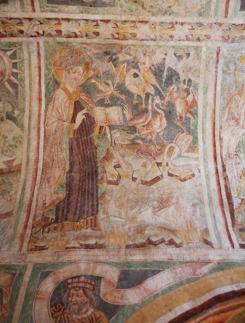 Saint with birds.