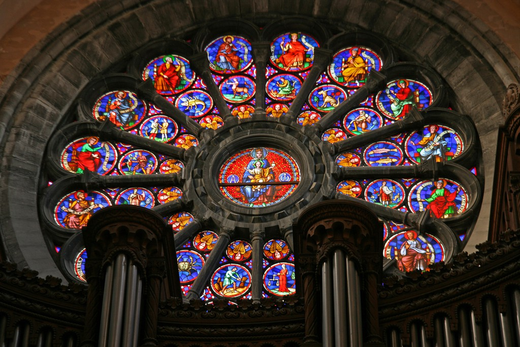 The beautiful rose glass window seen from the inside. - See more at: http://www.ourworldheritage.be/belgium.htm#sergiev