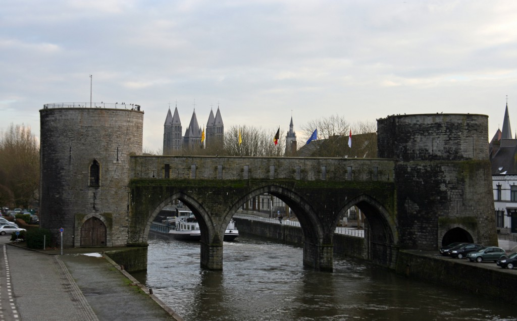 The five towers, seen from the Pont des Trous Bridge.