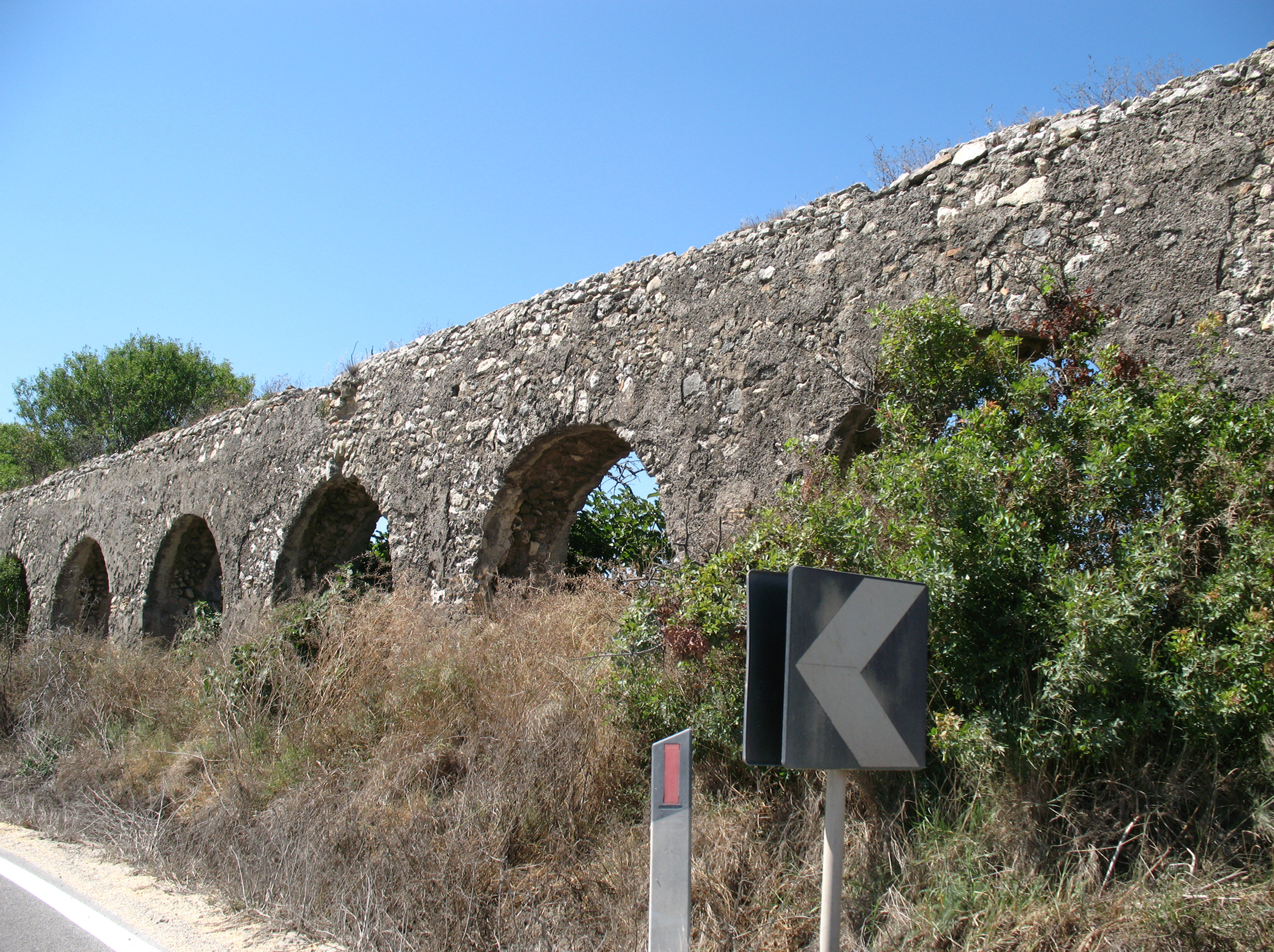 Roman aqueduct near the road.