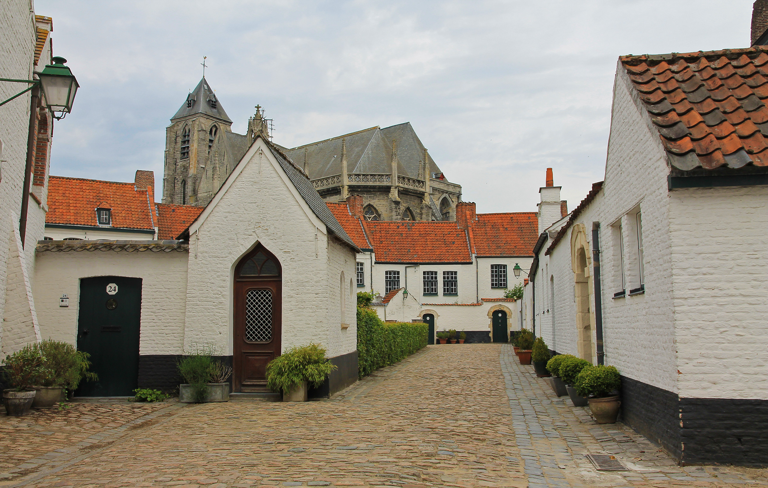 View on the church of Our Lady from the béguinage of Kortrijk.