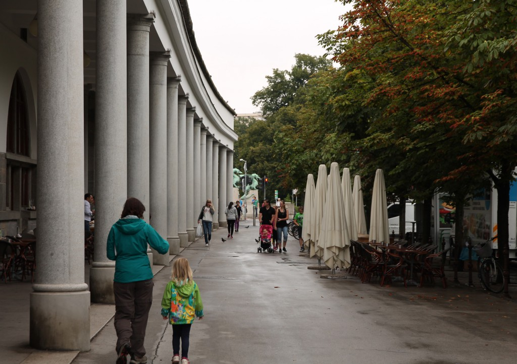 Walking past the Plečnik Colonnade.