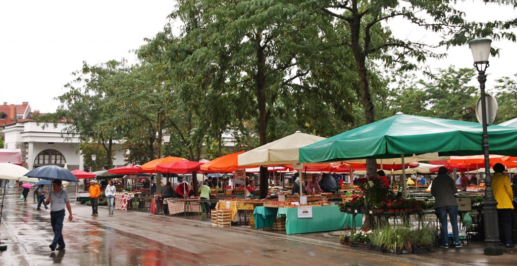 Market in the rain.