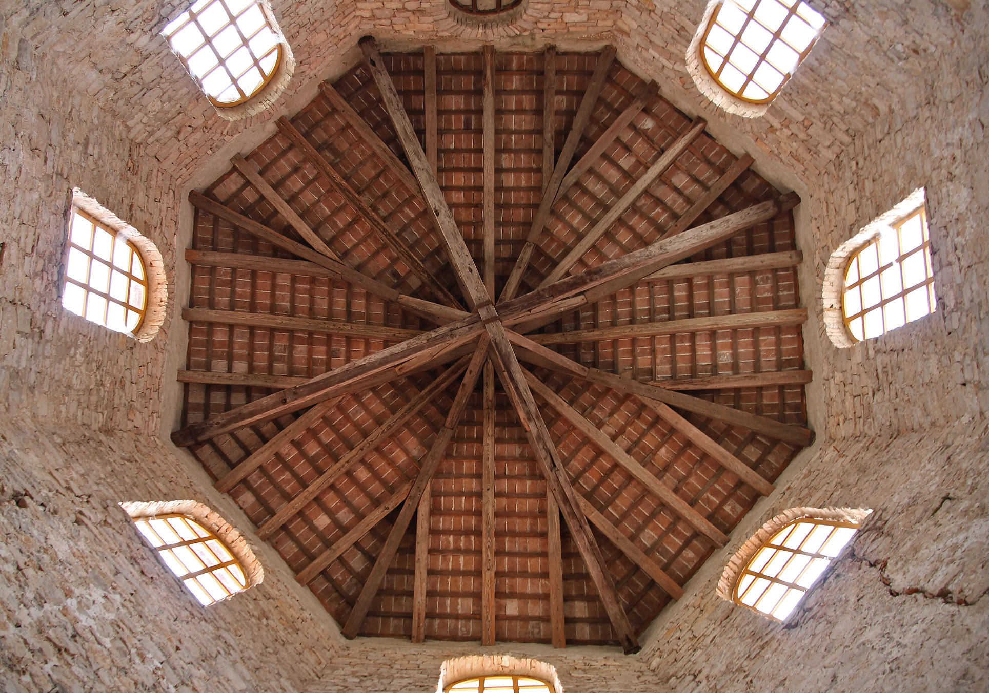 The wooden roof of the baptistery.