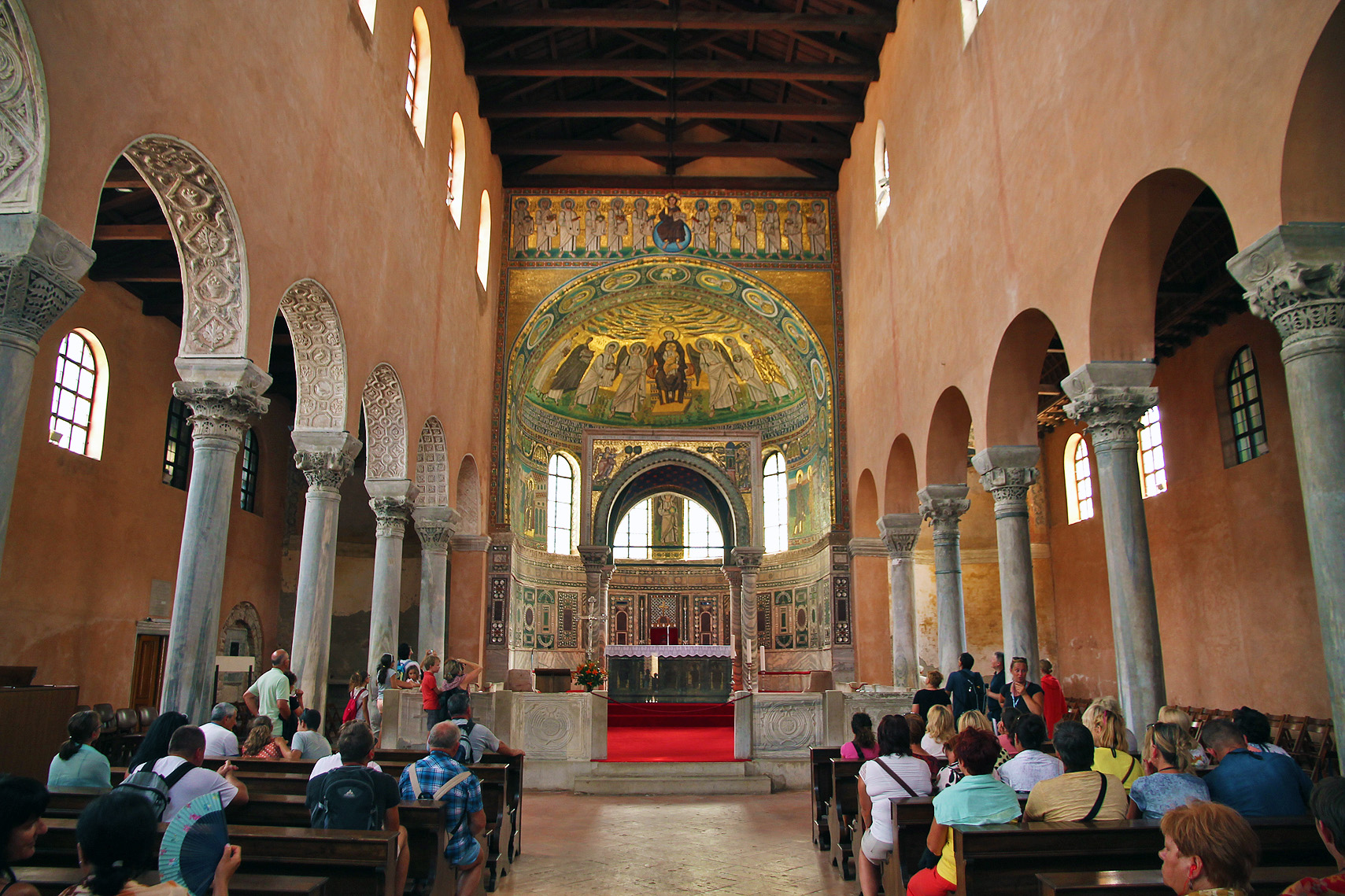 The magnificent interior of the Euphrasian Basilica.