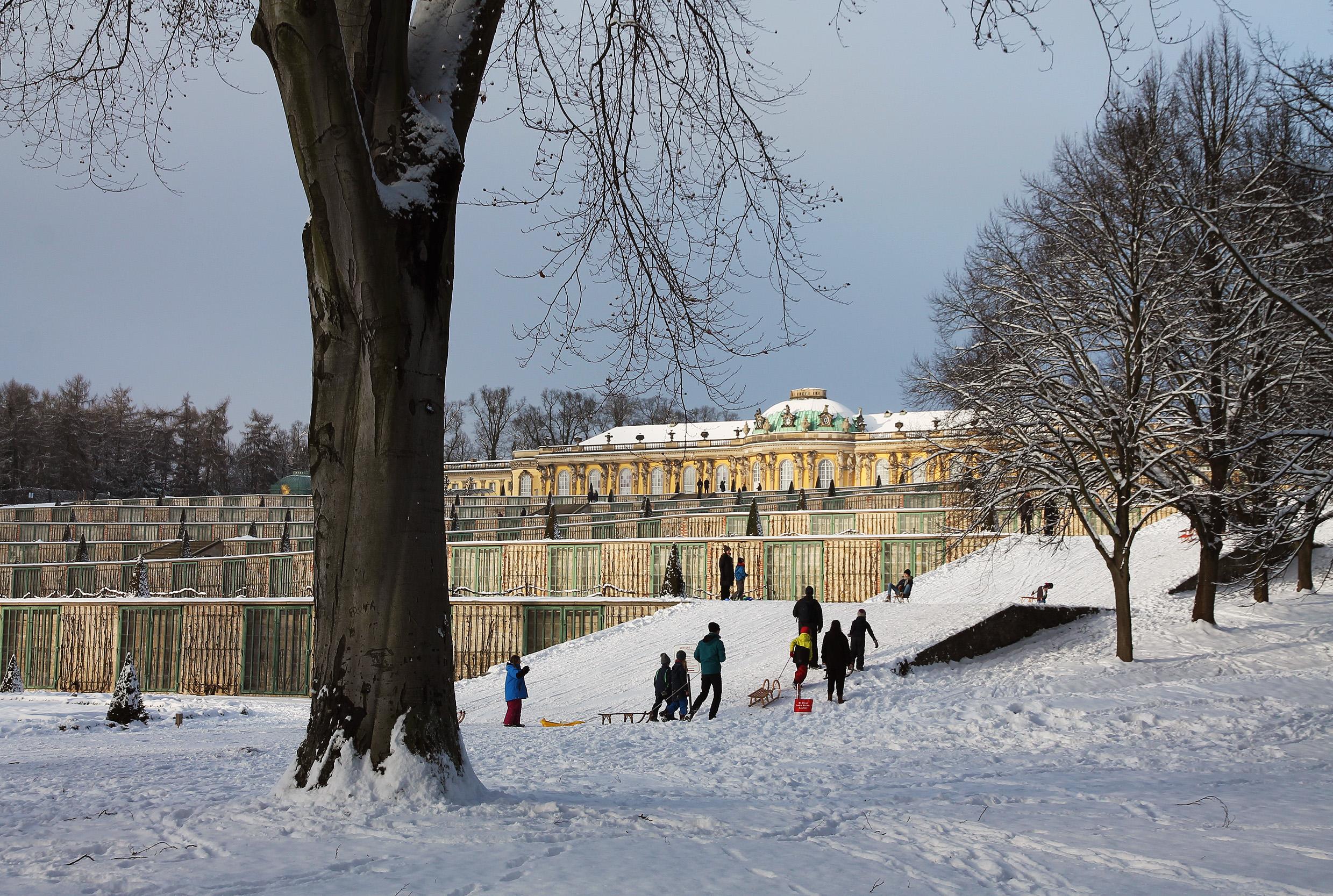 Approaching Sanssouci Palace.