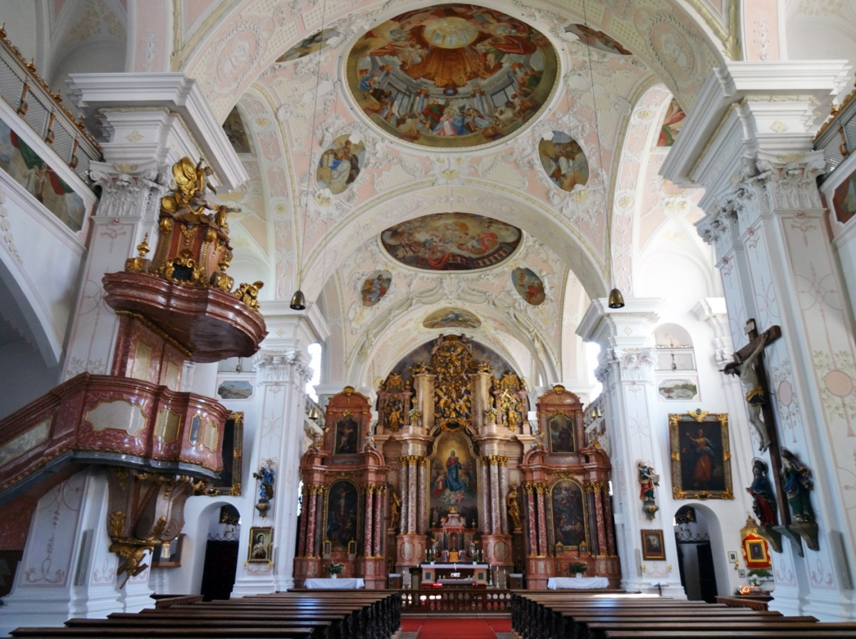 Baroque interior of the abbey church.