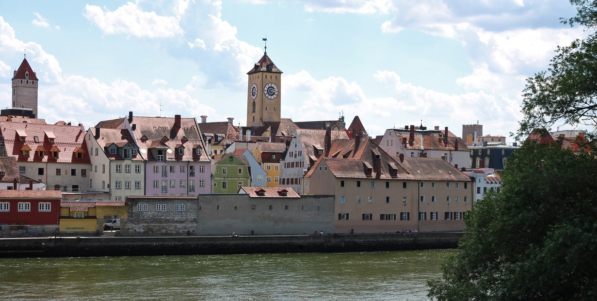 View from the Steinerne Brücke: the Golden Tower on the left (Goldener Turm) and the clock tower of the old town hall in the centre.