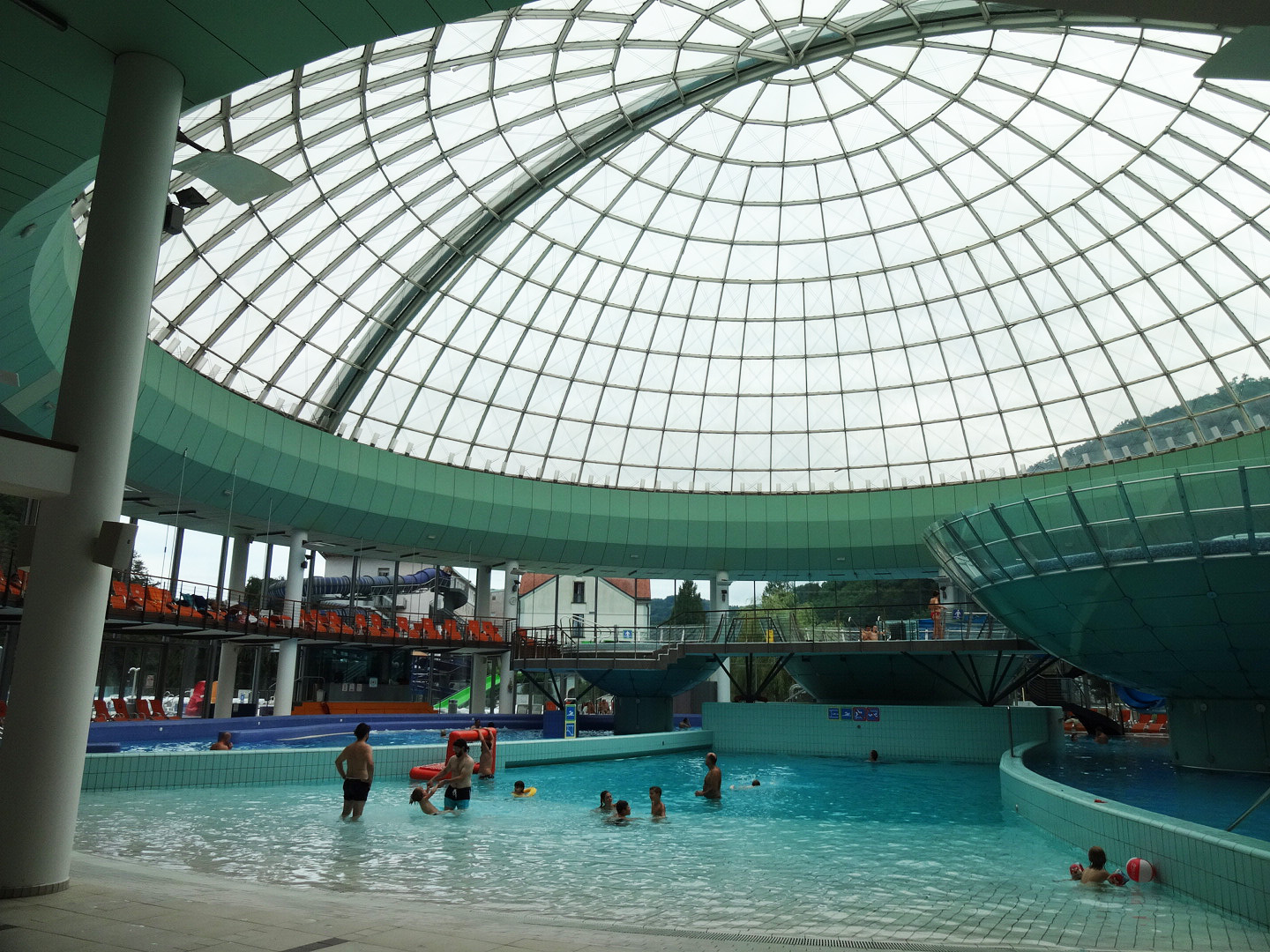 The swimming pool underneath the glass dome.