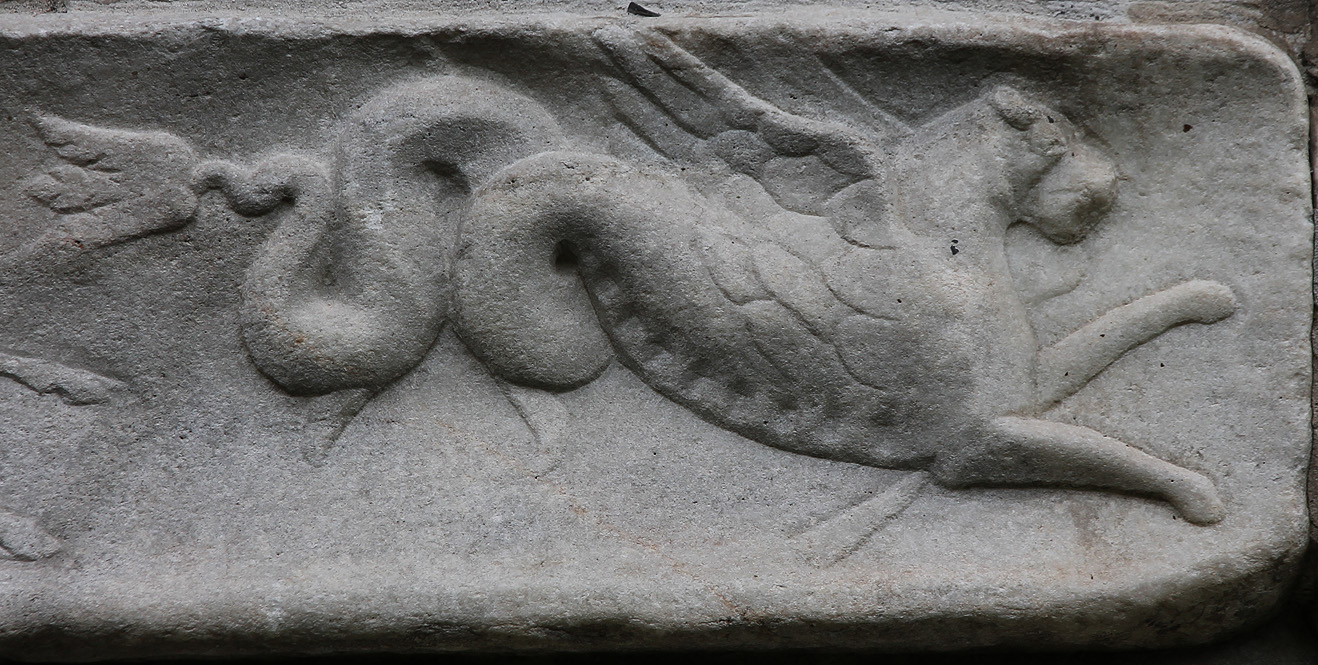 A mythical beast, featured on the narrow frieze of the Spectatius Tomb.