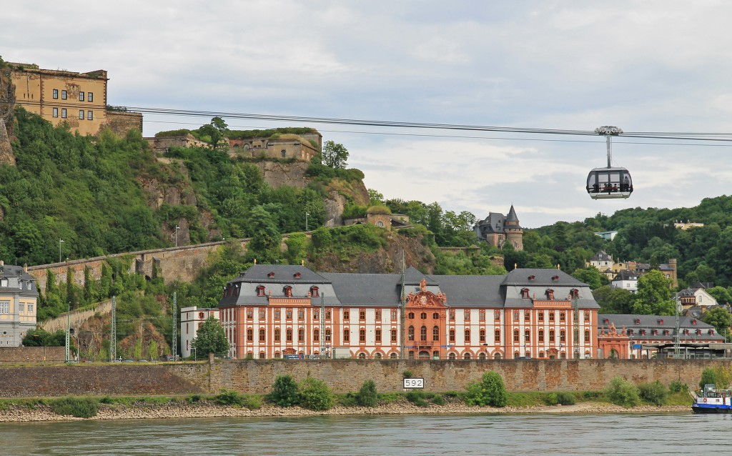The Seilbahn (cable car) to fortress Ehrenbreitstein (top left) near Koblenz.