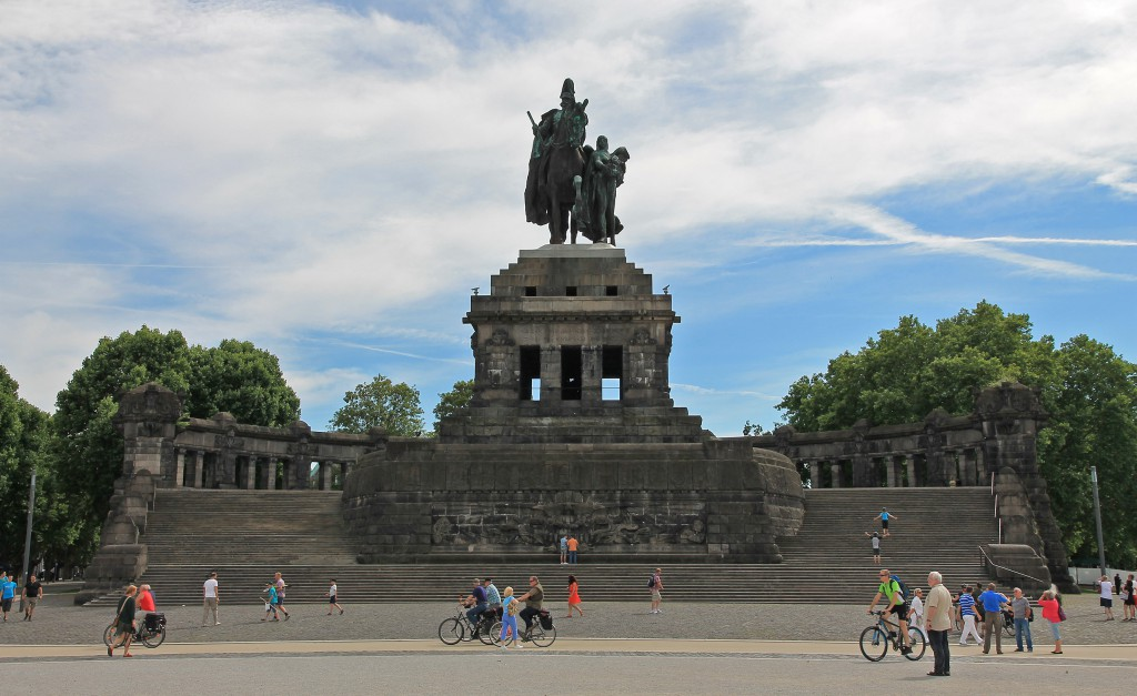 The giant equestrian statue of Wilhelm I at the Deutsches Eck, where Rhine and Moselle converge.