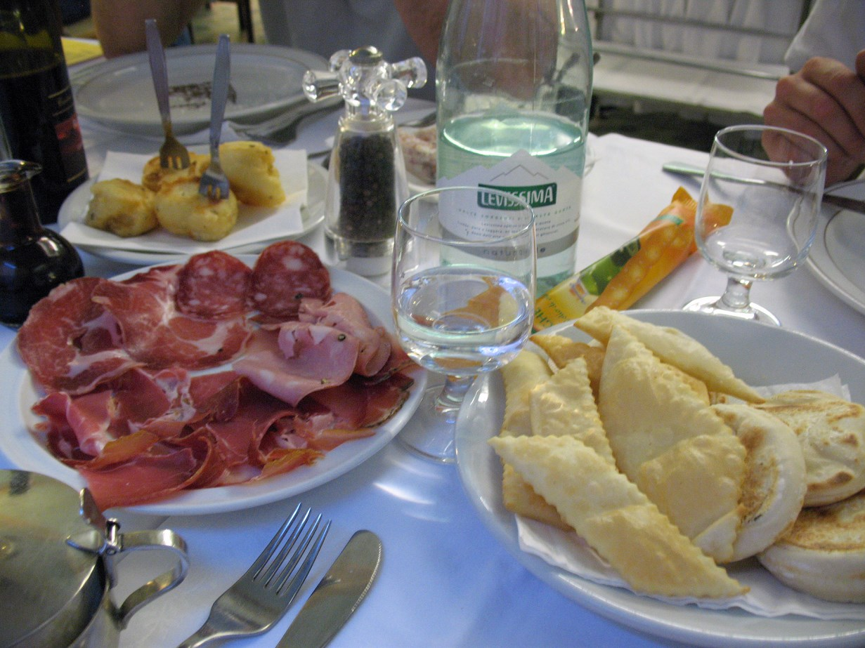 Local antipasti. The small bottle on the left contains the Balsamico.