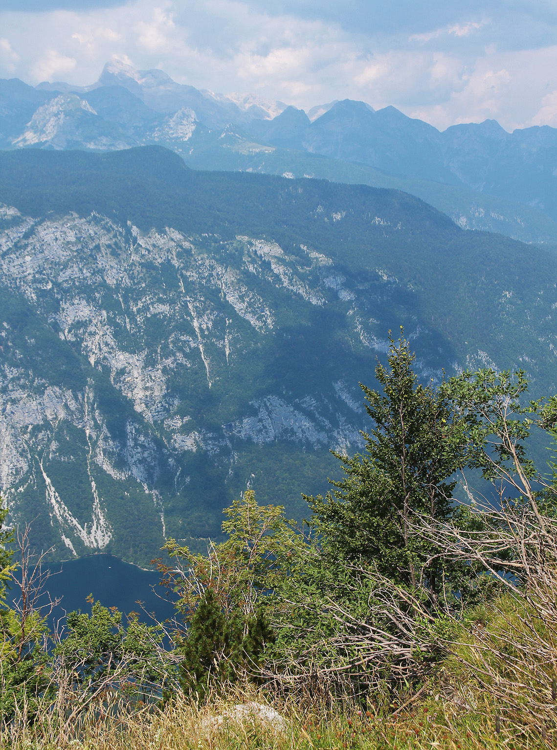 View from 1540m up the mountain, featuring the lake and Mount Triglav.