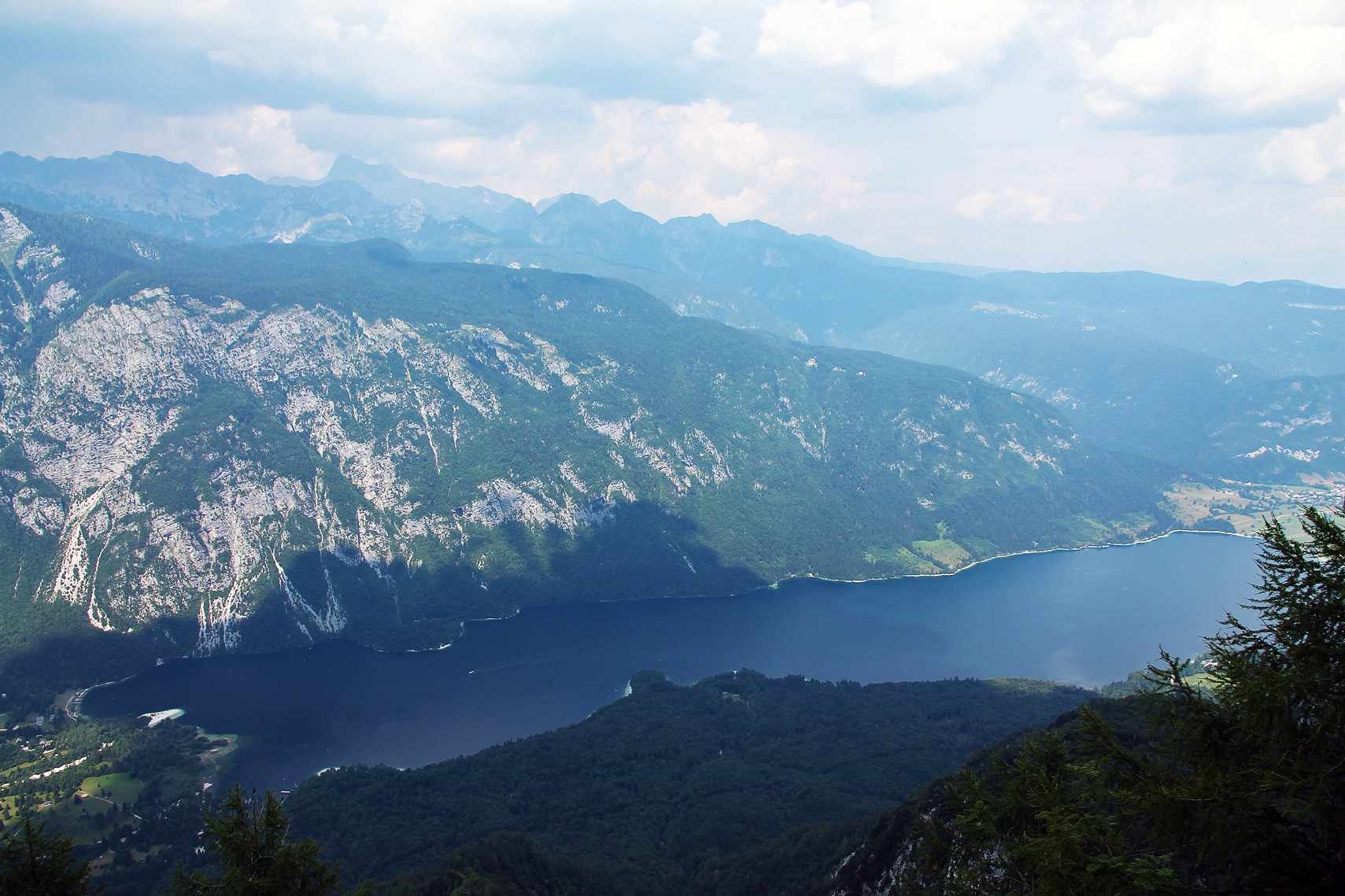Lake Bohinj, and Ribčev Laz on the right side.
