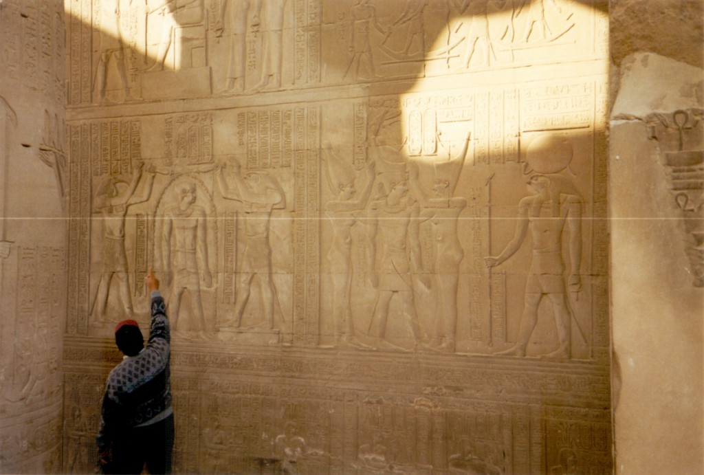 Our guide explaining the meaning of the hieroglyphs.
