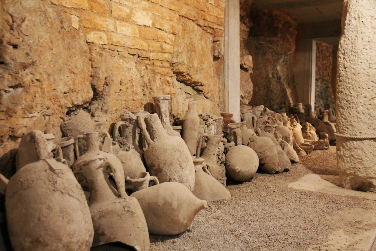 A collection of amphoras in the Arena's catacombs.