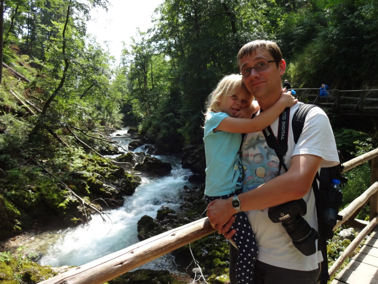 Happy dad and daughter in the Vintgar Gorge.