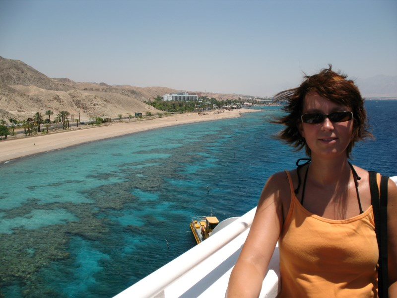 Standing on top of the observatory, you see the coral reefs you can snorkel to!