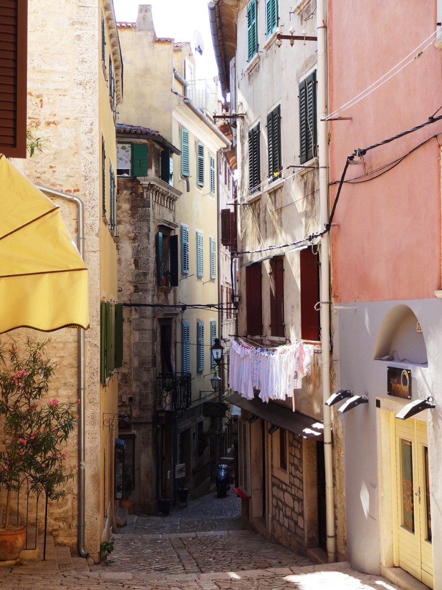 The narrow streets of Rovinj.