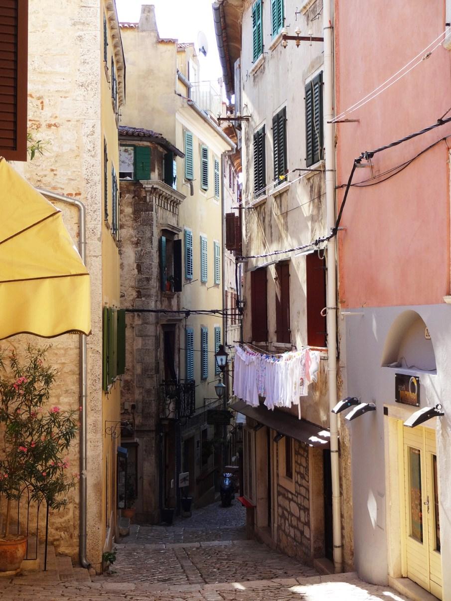 The narrow streets of Rovinj.