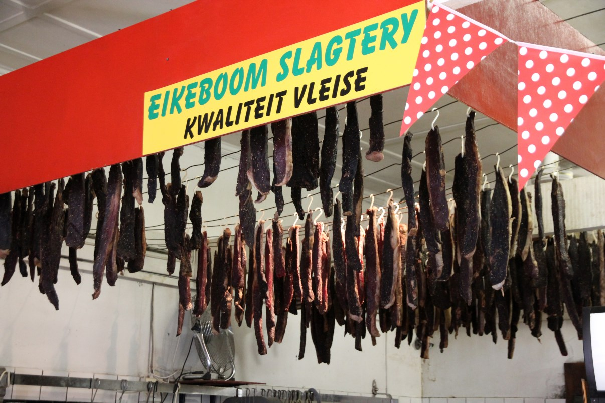 Biltong, drying in a family butchery.