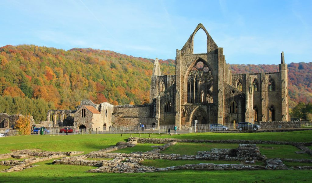 Tintern Abbey against a backdrop of the Monmouthshire hills...