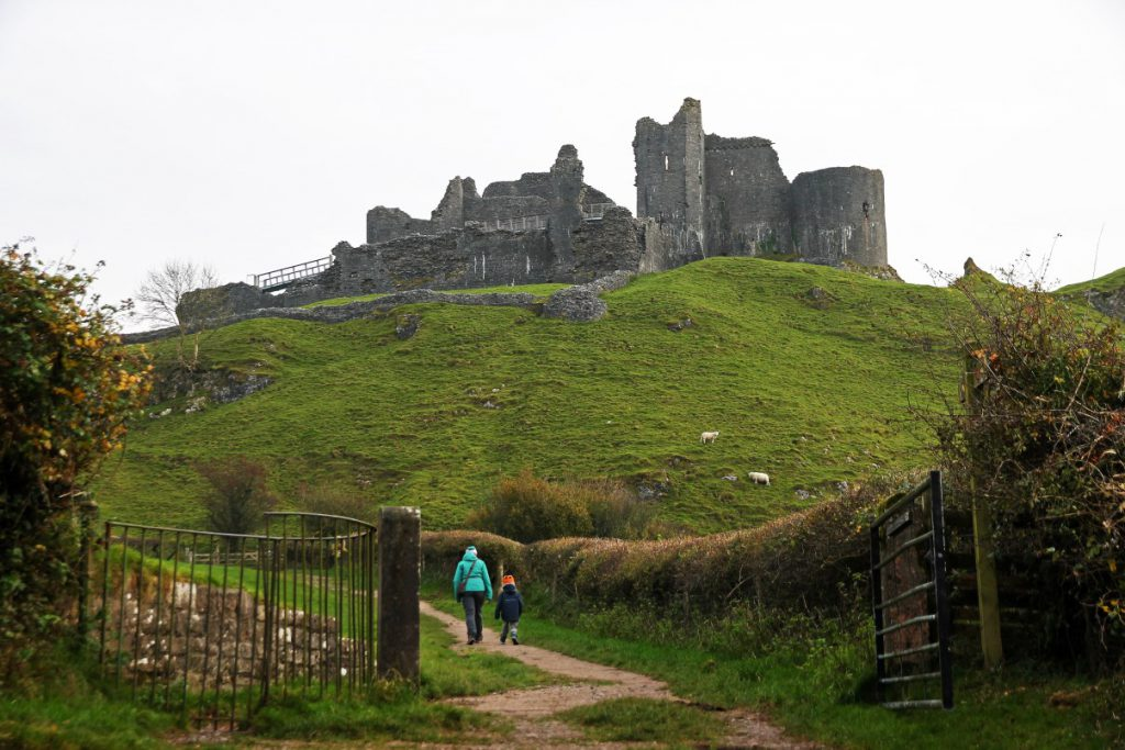 Starting our walk around Carreg Cennen.