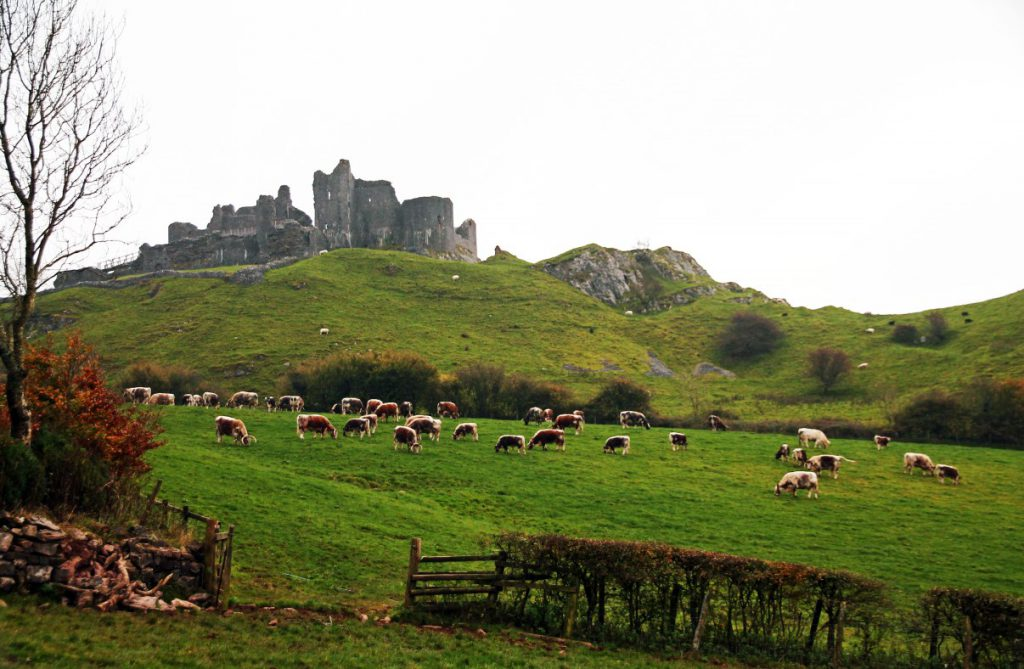 Dark and grim on top of the hill: Carreg Cennen castle.
