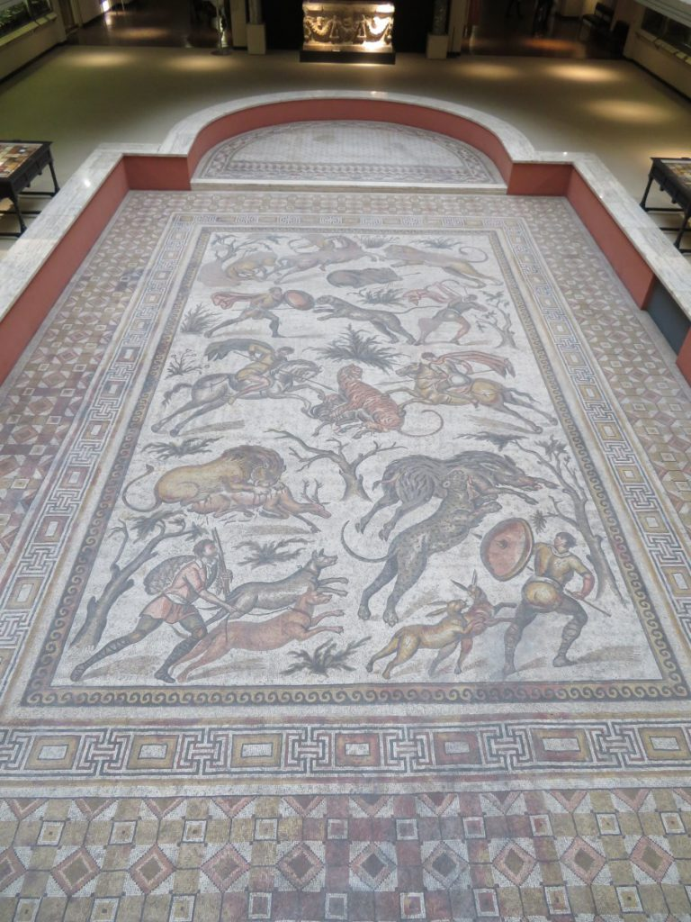 Roman mosaic depicting a hunting scene from Apamea, Syria.