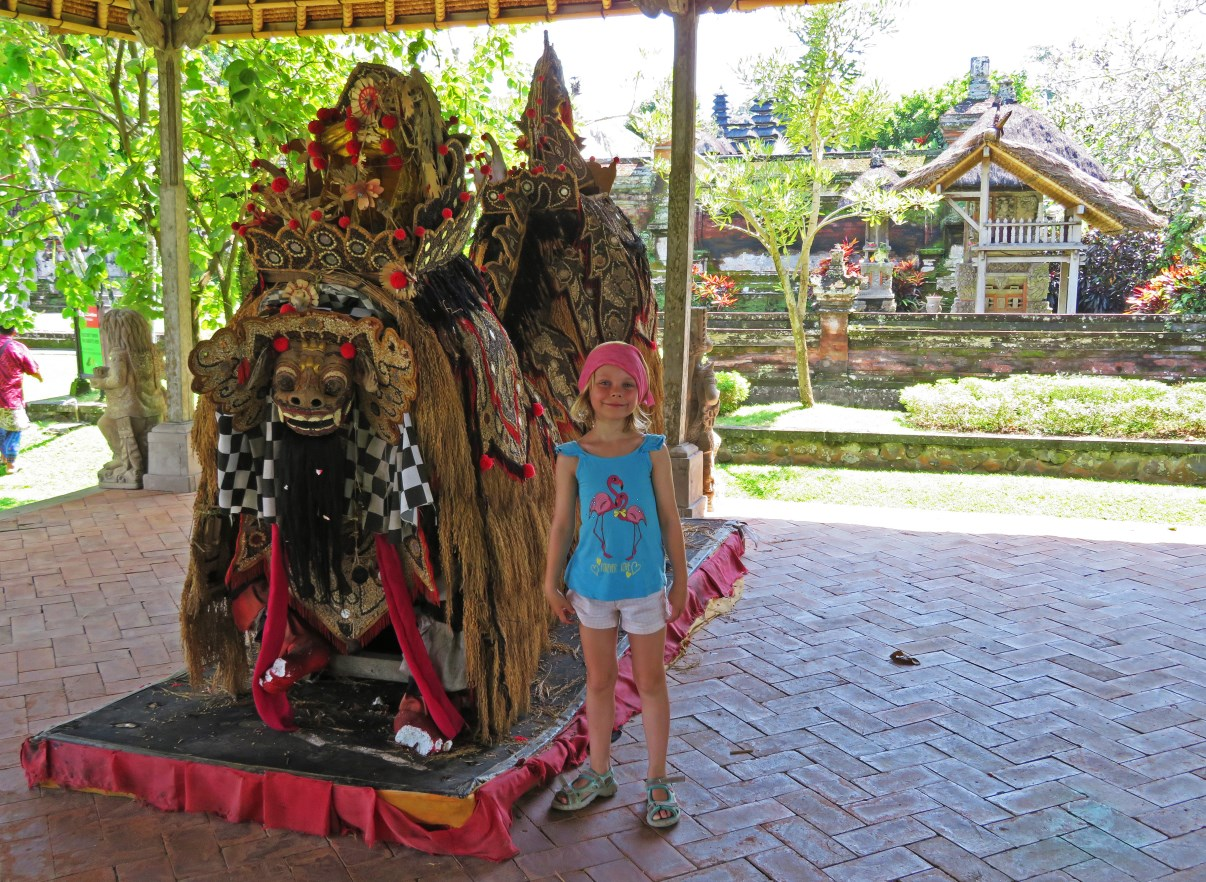 A Barong is usually used in processions. This guardian lion is the king of all good spirits.