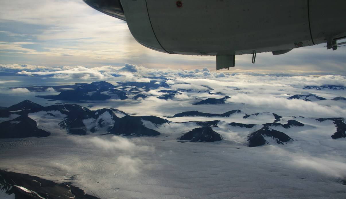 View over Spitsbergen from the air.