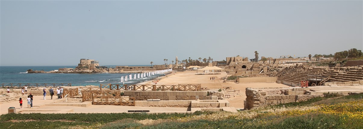 An overview of the Caesarea archeological site.