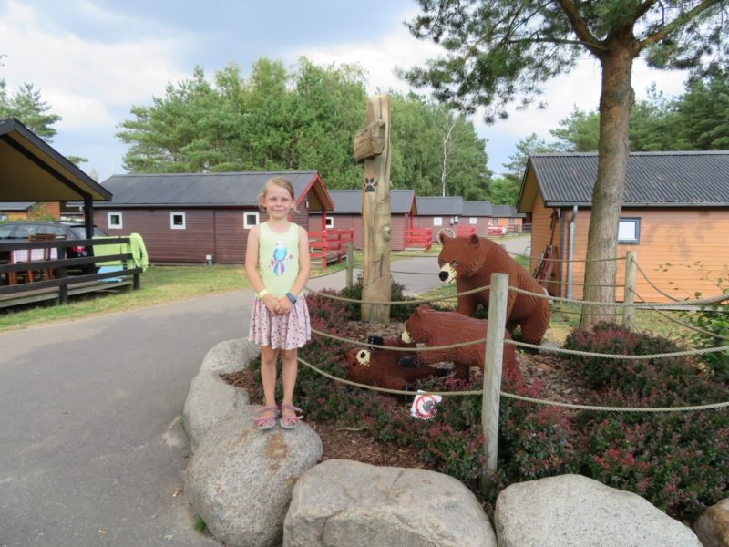 The cabins and statues at the Holiday Village.