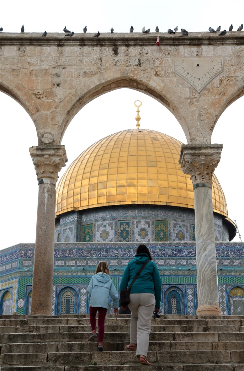 Climbing the stairs up to the Dome of the Rock.