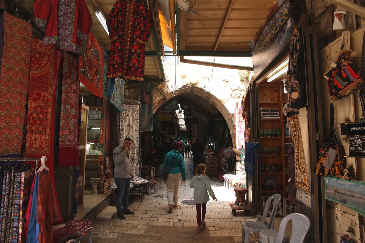 Finding our way through the narrow streets of central Jerusalem.