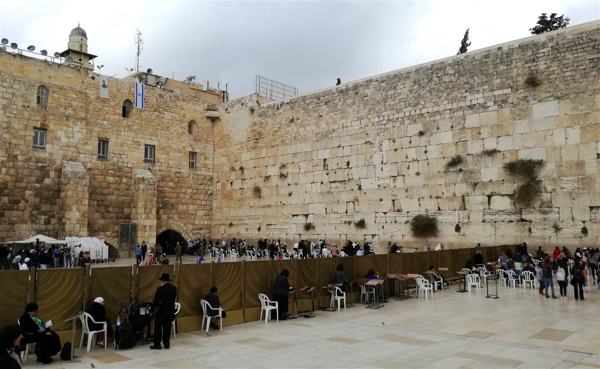 The Wailing Wall at the foot of the Temple Mount.