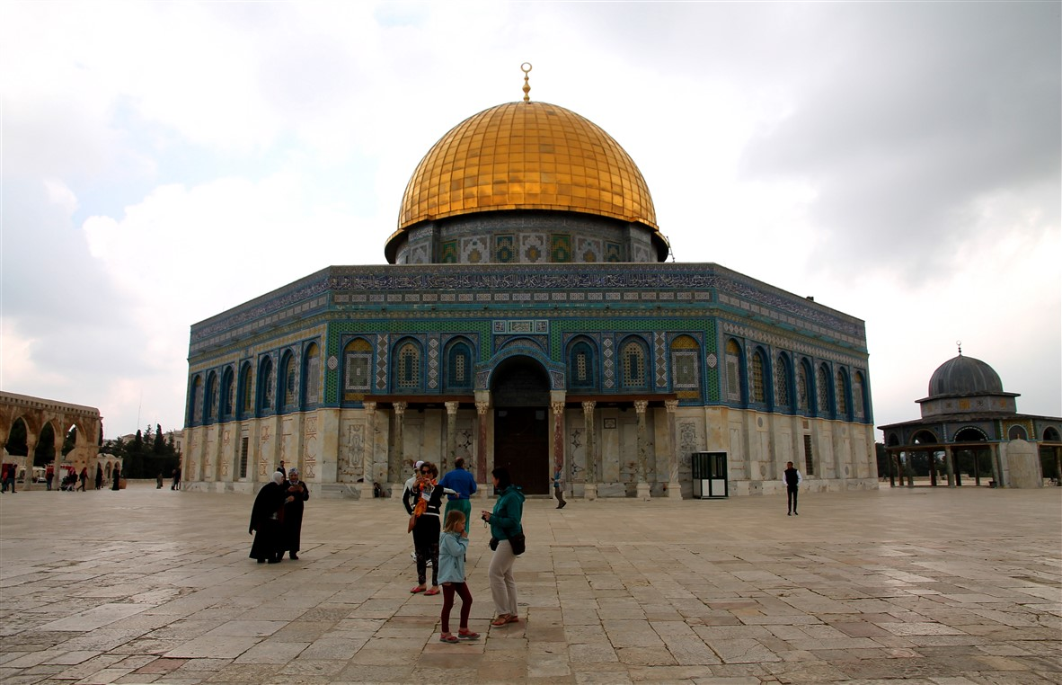 In front of the Dome of the Rock.